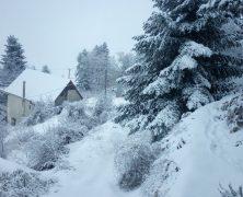 Τρίκαλα Κορινθίας στο χιόνι από ψηλά